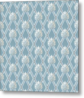 Metal Print featuring the digital art Old Fashioned Blue Lattice Fan Wallpaper Pattern by Tracie Kaska