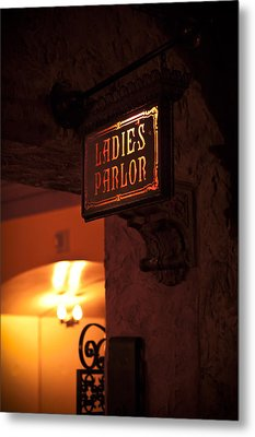 Metal Print featuring the photograph Old Fashioned Ladies Parlor Sign by Carolyn Marshall