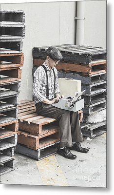 Old Fashioned Male Journalist Writing News Report Metal Print