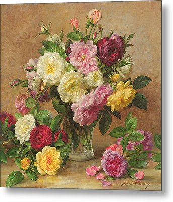 Old Fashioned Victorian Roses Metal Print by Albert Williams