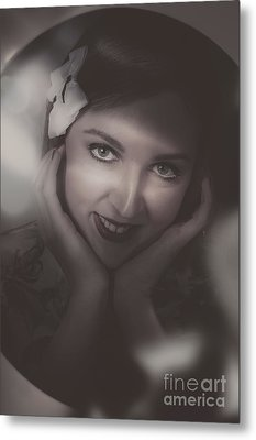 Old Film Noir Photo On The Face Of A 1920s Lady Metal Print by Jorgo Photography - Wall Art Gallery