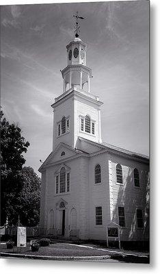 Old First Church Of Bennington - Bw Metal Print by Stephen Stookey