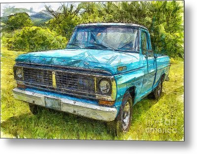 Old Ford Pick Up Truck Pencil Metal Print by Edward Fielding