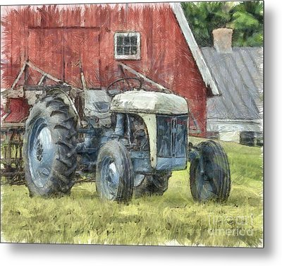 Old Ford Tractor Colored Pencil Metal Print by Edward Fielding