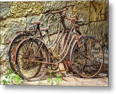 Old French Bicycles Metal Print by Debra and Dave Vanderlaan