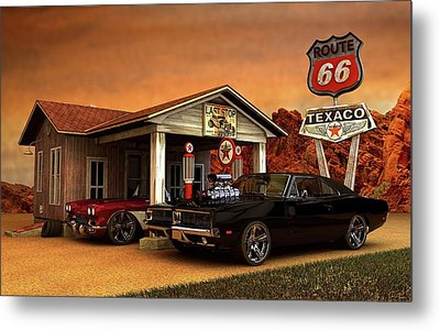 Metal Print featuring the photograph Old Gas Station American Muscle by Louis Ferreira