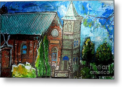 Old German Church In New Melle Missouri Metal Print by Genevieve Esson