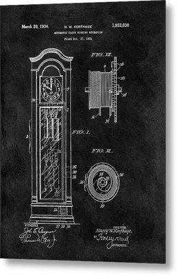 Old Grandfather Clock Patent Metal Print by Dan Sproul