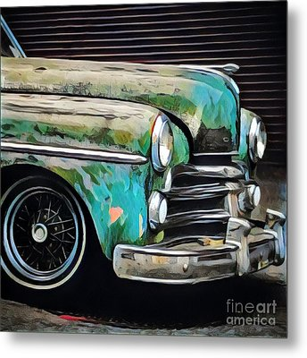 Old Green Car Metal Print by Amy Cicconi