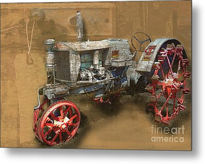 Old Grey Tractor Metal Print