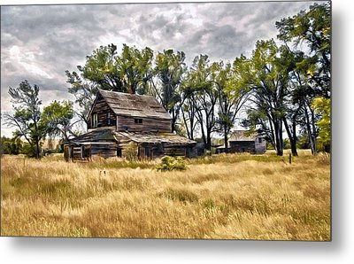 Metal Print featuring the digital art Old House And Barn by James Steele