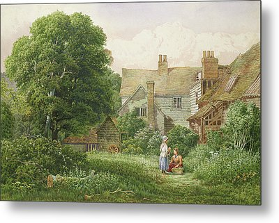 Old House At Hendon  Metal Print by Bernard Walter Evans