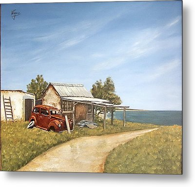 Old House By The Sea Metal Print