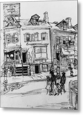 Old Houses, Clinton Street, New York Metal Print by Jerome Myers