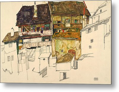 Old Houses In Krumau Metal Print by Egon Schiele