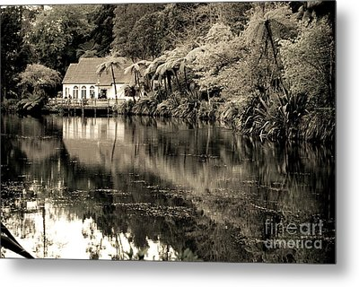 Metal Print featuring the photograph Old Hut By The Bush Lake by Yurix Sardinelly