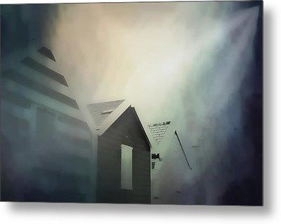 Old Huts In The Mist - Digital Watercolour Metal Print