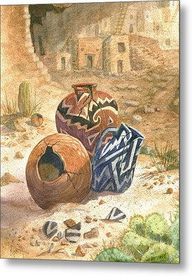 Metal Print featuring the painting Old Indian Pottery by Marilyn Smith
