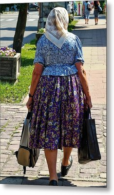 Metal Print featuring the photograph Old Lady Off To Work by Mariola Bitner