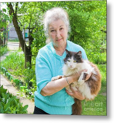 Old Lady With Cat Metal Print