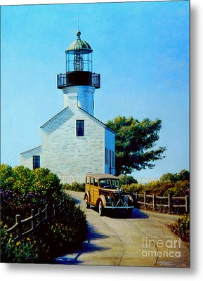 Old Lighthouse Point Loma Metal Print by Frank Dalton