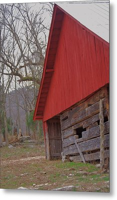 Metal Print featuring the photograph Old Log Barn by Debbie Karnes