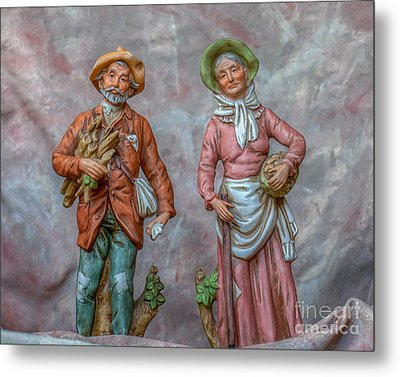 Old Man And Woman Farmers Metal Print