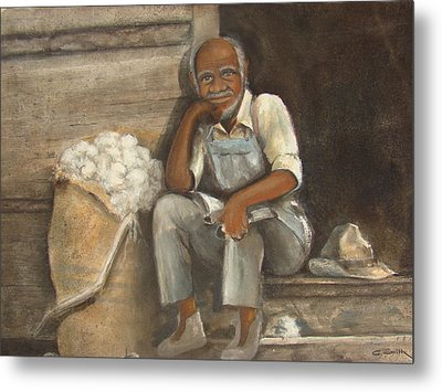 Old Man Cotton Metal Print by Charles Roy Smith