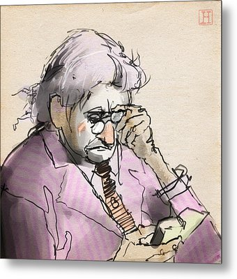 Old Man Reading A Small Book Metal Print by H James Hoff