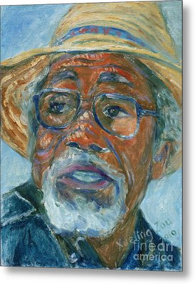 Old Man Wearing A Hat Metal Print by Xueling Zou