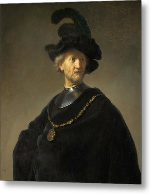 Old Man With A Gold Chain Metal Print by Rembrandt