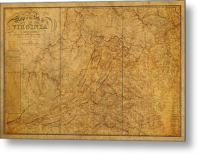 Old Map Of Virginia State Schematic Circa 1859 On Worn Distressed Parchment Metal Print by Design Turnpike