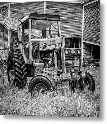Old Mf Tractor Square Metal Print
