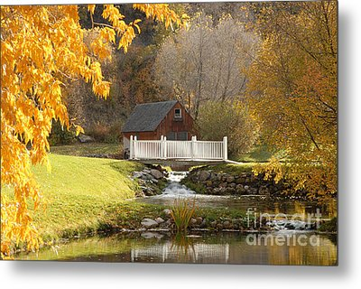 Old Mill In Autumn Metal Print by Dennis Hammer