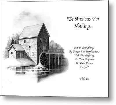 Old Mill In Pencil With Bible Verse Metal Print by Joyce Geleynse