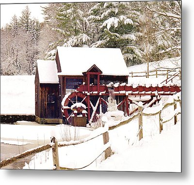 Old Mill In Winter Metal Print