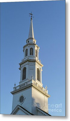 Old New England Church Steeple Concord Metal Print by Edward Fielding