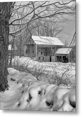 Old New England Winter 2016 Bw Metal Print