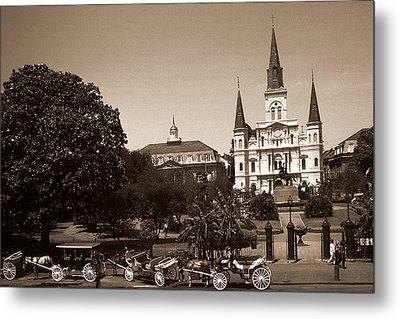 Old New Orleans Photo - Saint Louis Cathedral Metal Print by Art America Gallery Peter Potter