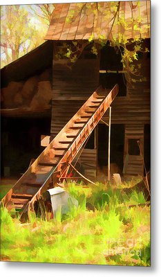 Old North Carolina Barn And Rusty Equipment   Metal Print by Wilma Birdwell