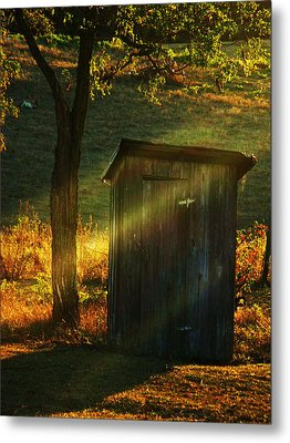 Old Outhouse At Sunset Metal Print by Joyce Kimble Smith