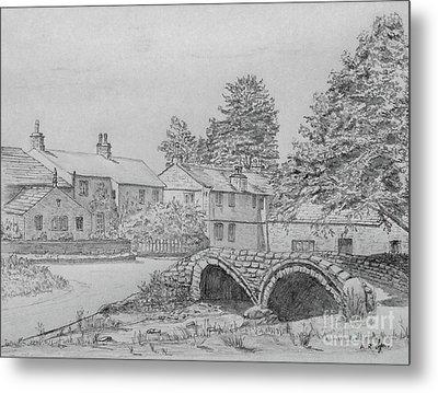 Old Packhorse Bridge Wycoller Metal Print by Anthony Lyon