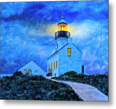 Historic Point Loma In The Rain Metal Print