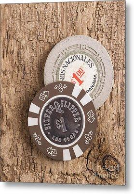 Old Poker Chips Metal Print
