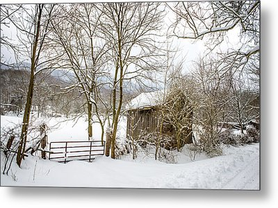 Old Post Office In Snow Metal Print