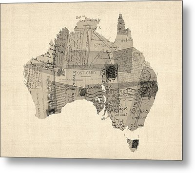 Old Postcard Map Of Australia Map Metal Print
