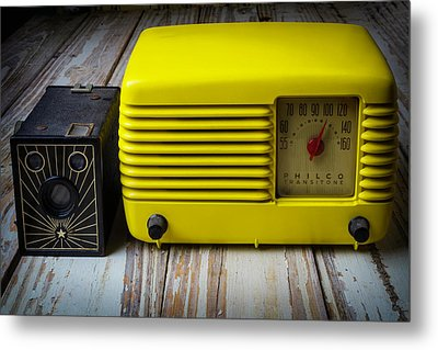 Old Radio And Camera Metal Print by Garry Gay
