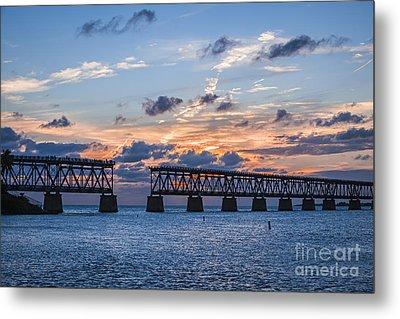Old Rail Bridge At Florida Keys Metal Print