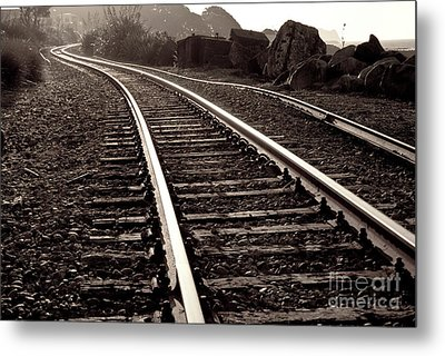 Metal Print featuring the photograph Old Railroad Running Along The Sea Shore by Yurix Sardinelly
