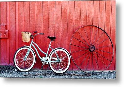 Old Red Barn And Bicycle Metal Print by Margaret Hood